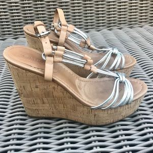 Coach Shoes - COACH STRAPPY SANDAL WEDGE Leather silver tan 8.5